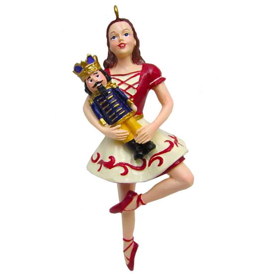 Clara on Pointe with Nutcracker Resin Ornament 4 Inch