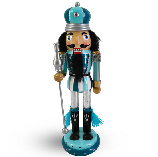 King Nutcracker Two Tone Blue Turquoise with Crown 10 Inch