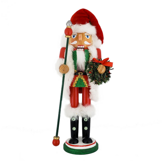 Christmas Santa Nutcracker Red White with Wreath 12 Inch