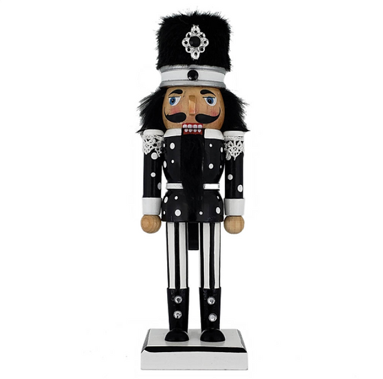 Soldier Nutcracker Black White Polka Dots Fur Hat 10 Inch