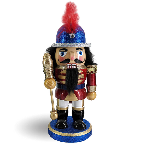 Chubby Soldier Nutcracker in Blue Red and Gold with Staff 8 Inch