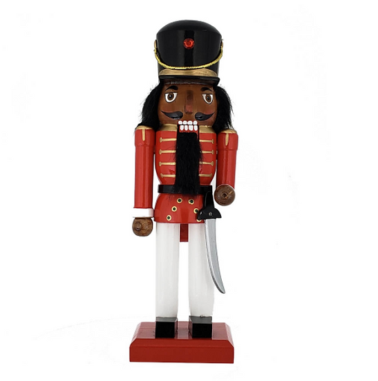 African American Traditional Soldier Nutcracker Red White Black Hat 10 Inch
