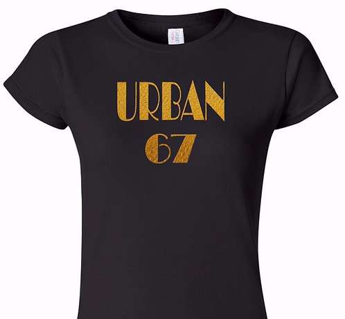 Keith Urban - 1967 Concert Style Ladies Black Tee (T-Shirt) with Gold Foil Text