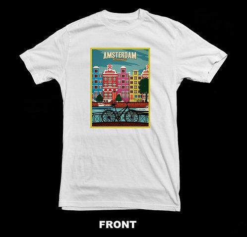 Amsterdam Netherlands  Vintage Travel Poster T Shirt
