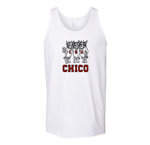 Chico State Vintage Logo Three Drinking Wildcats Tank Top