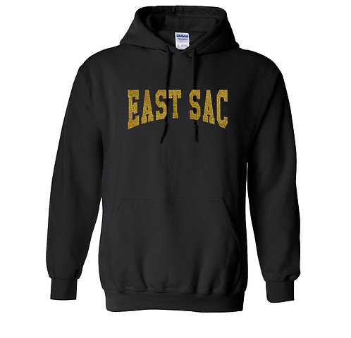 East Sac Premium Sweatshirt | Black With Glitter Gold Text