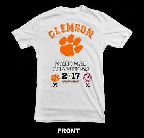 CLEMSON TIGERS 2017 (2016 SEASON) NATIONAL FOOTBALL CHAMPIONSHIP T-SHIRT