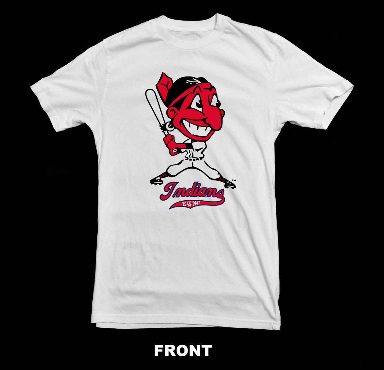 innovative design 5b1b2 fd23a Cleveland Indians Vintage Logo T Shirt | 1946-1947 Chief Wahoo Logo