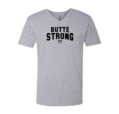 Butte Strong Athletic Gray V Neck T Shirt