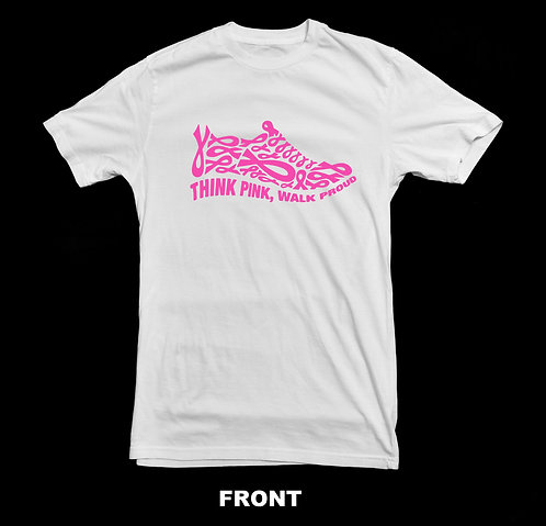"Breast Cancer Awareness - Pink Ribbon Shoe "" Think Pink, Walk Proud"" T-Shirt"