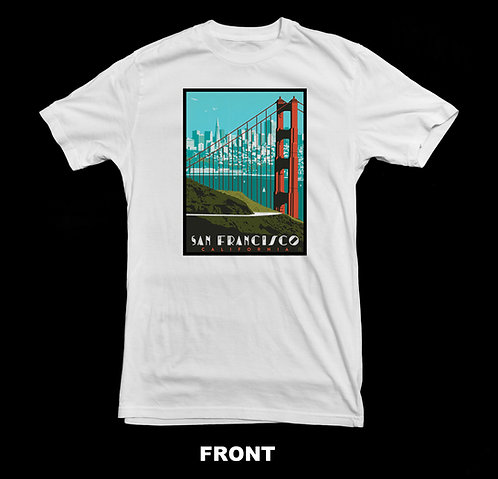 SAN FRANCISCO CALIFORNIA VINTAGE POSTER (GOLDEN GATE BRIDGE) T-SHIRT