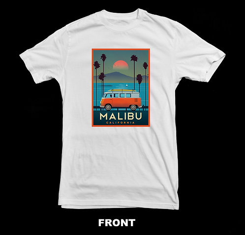 MALIBU CALIFORNIA VINTAGE TRAVEL POSTER (SURFING / VOLKSWAGEN BUS) SHIRT