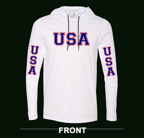UNITED STATES - USA  (OLYMPIC STYLE) LIGHTWEIGHT HOODED T-SHIRT