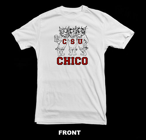 Chico State T-Shirt | Three Beer Drinking Wildcats Shirt