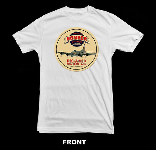 Bomber Aviation Motor Oil White T Shirt