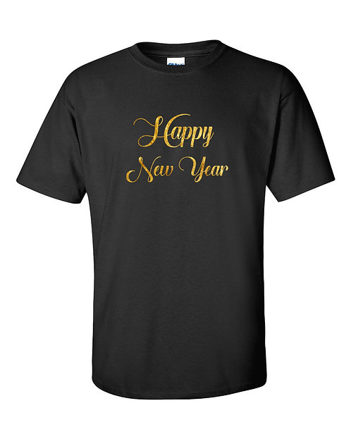 2017 Happy New Year Black (with gold foil text) T-Shirt ~ Various Sizes