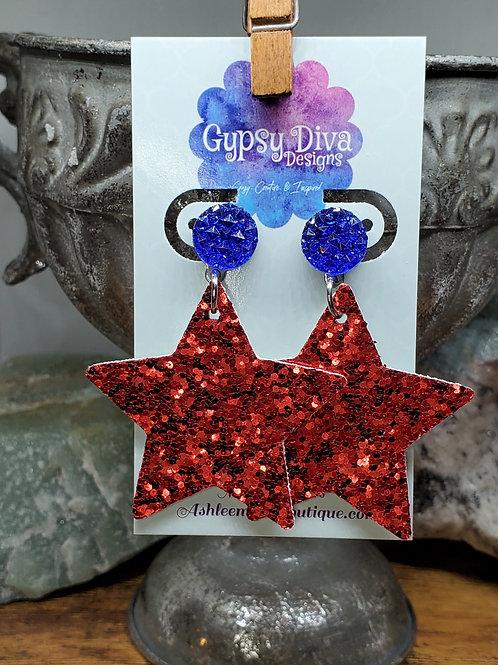 Americana Glitter Post Earrings