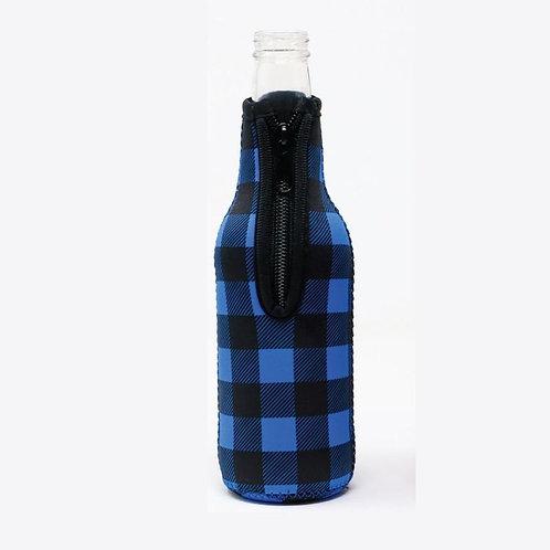 Insulated Bottle Sleeve -  Blue Plaid