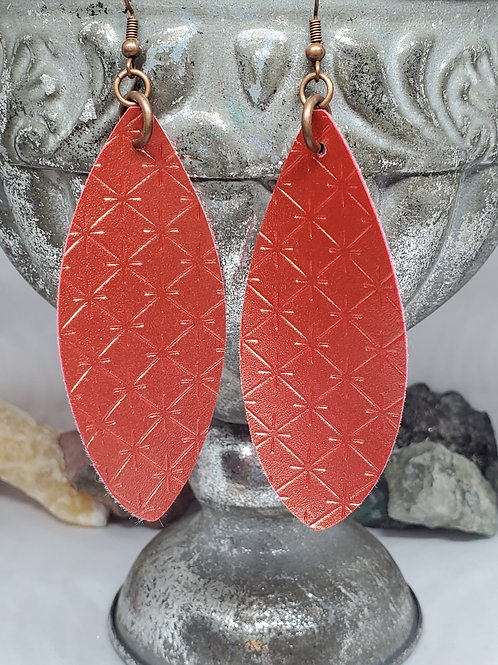 Large Leaf Cut Metallic Coral/Orange Faux Leather with Copper Hardware