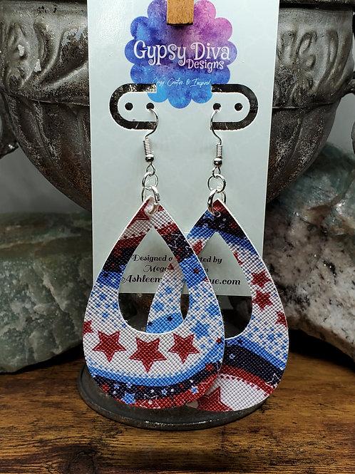 Americana Single Layer Faux Leather Earrings