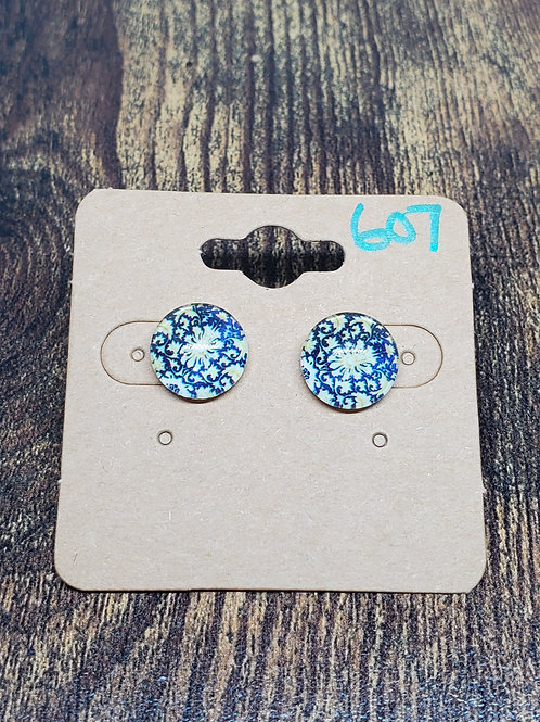 Blue & Yellow Floral Design Post Earrings