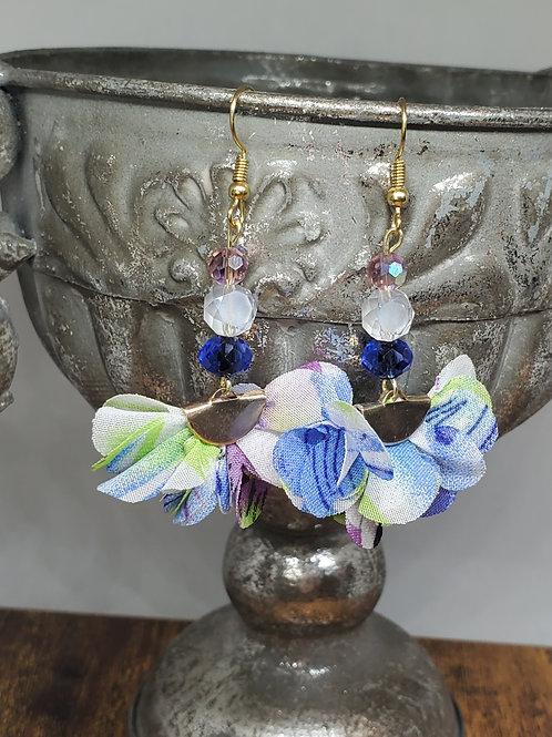 Watercolor Blue, Green & Purple Chiffon Petal Fans w/Beads