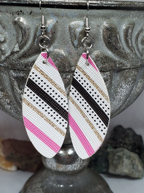 Small Leaf White Background w/ Black, Hot Pink, & Gold Stripes Faux Leather