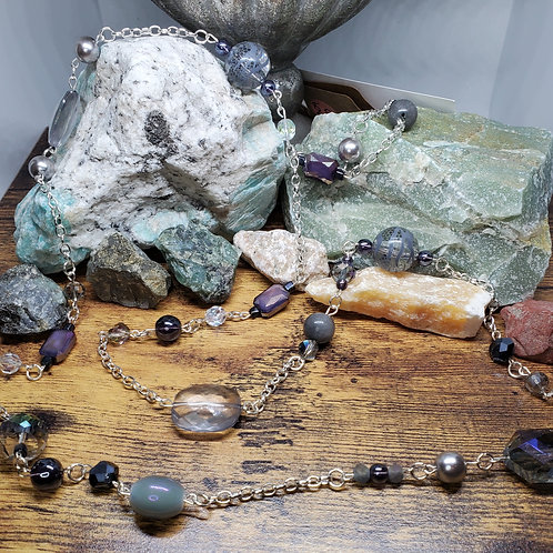 """Grey & Purple Beaded Necklace w/49"""" Silver Chain"""
