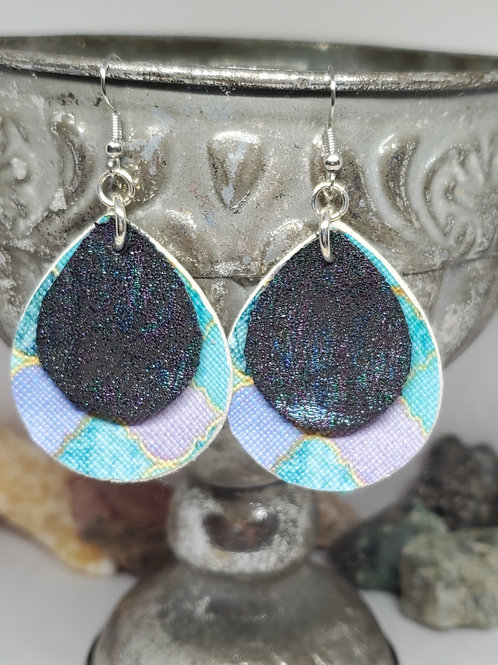Small Drops Double Layer Teal & Purple Moroccan with Black/Iridescent Shimmer