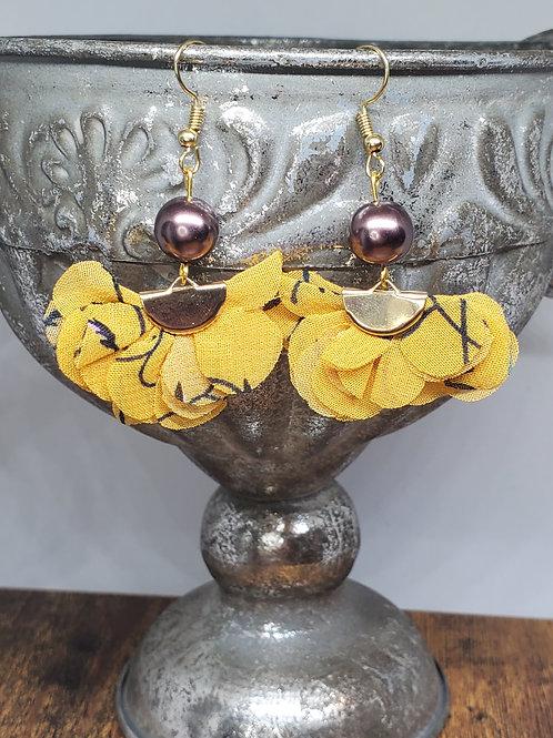 Deep Yellow Printed Chiffon Fans & Chocolate Pearl Beads