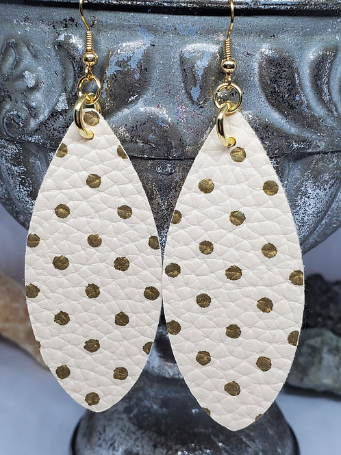 Large Leaf Cut Cream with Gold Polka-dot Textured Faux Leather