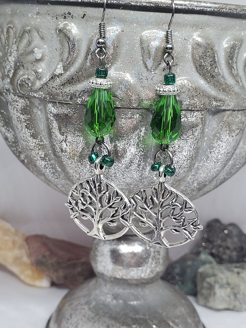 Tree of Life Dangle with Green Beads