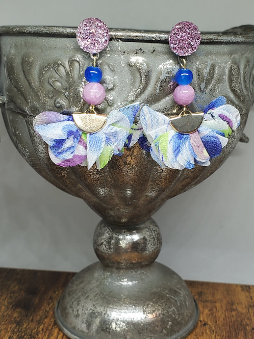 Watercolor Blue, Green & Purple Chiffon Petal Fans w/Lavender Druzy