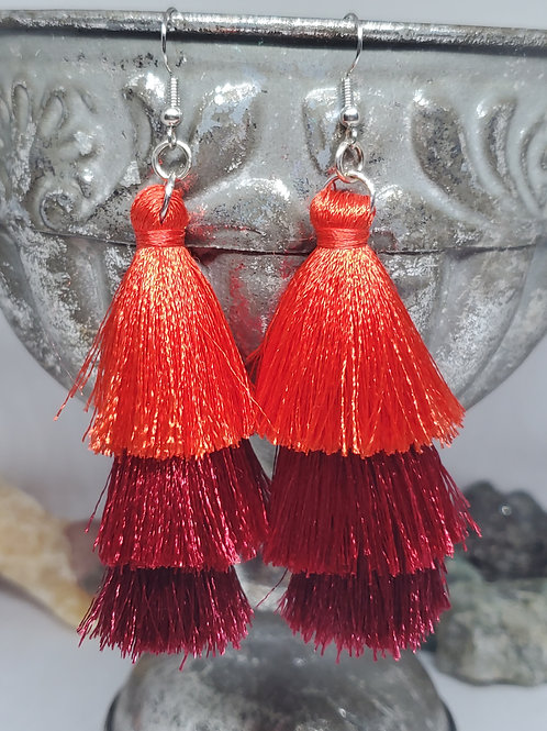 Ombre Red Large Tassel with Red Bead