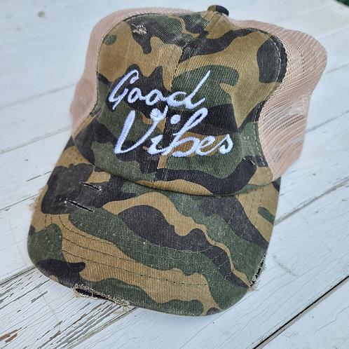 "Camo ""Good Vibes"" Ponytail Hat"