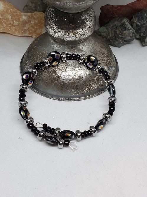 Black Polka-dot Beaded Bracelet