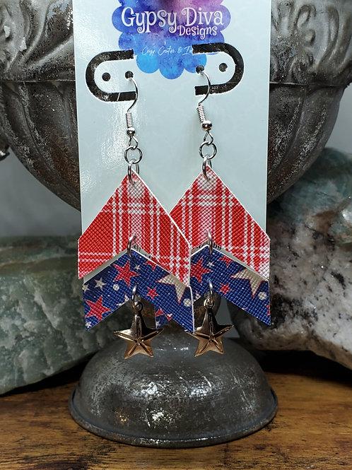 Americana Double Dangle Faux Leather Earrings