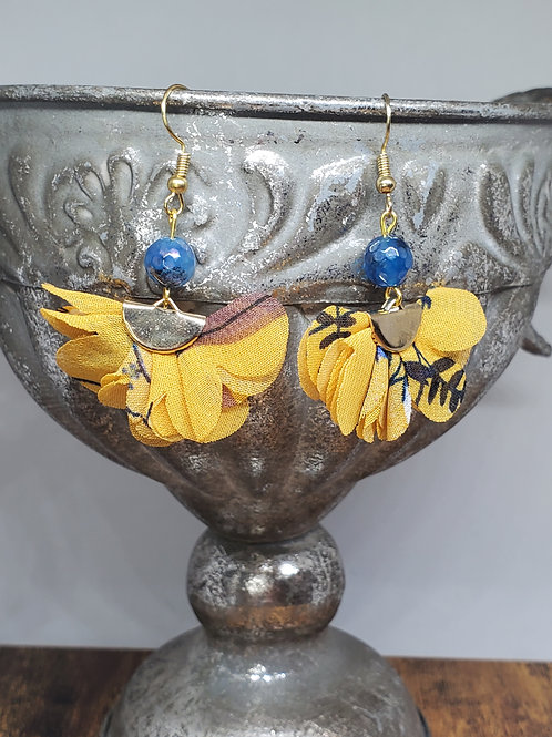 Deep Yellow Printed Chiffon Fans & Deep Teal Faceted Beads