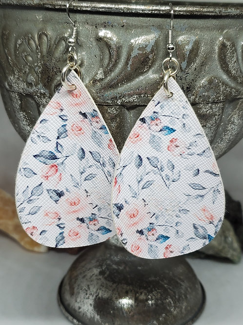 Large Teardrop Peachy Pink, Gray, & Teal Floral Faux Leather
