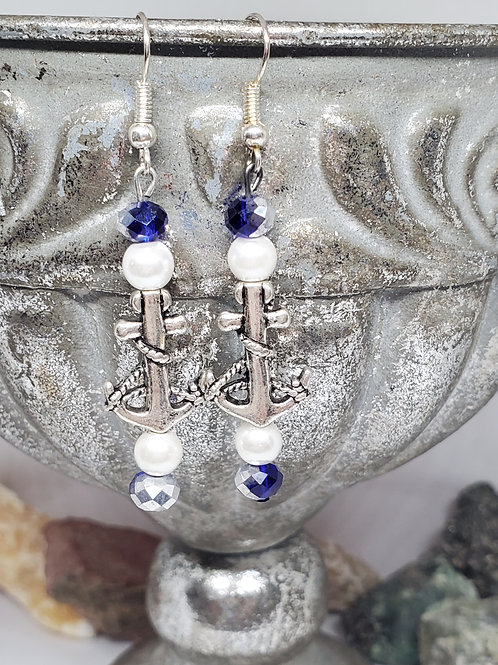 Silver Anchors with Faux Pearls & Blue and Silver Faceted Beads