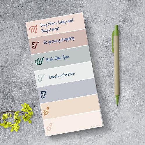 Weekly Color Block Boho Magnet List
