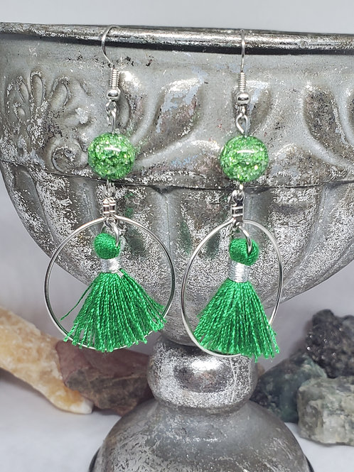 Green Crackle Bead and Small Tassel
