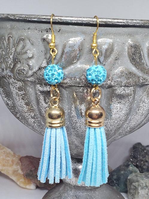Light Blue Rhinestone Bead & Tassel with Gold Hardware