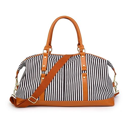 Canvas Weekender Bag - Black Stripe