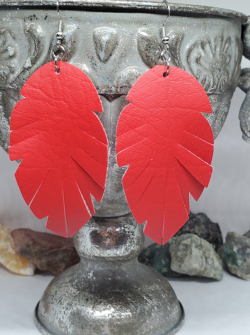 Large Fringed Feather Cut True Solid Red Faux Leather
