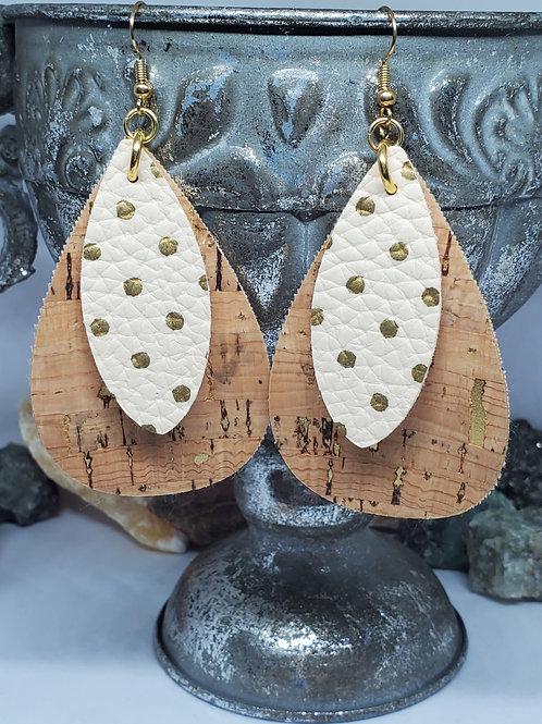 Large Teardrop & Small Leaf Cut Double Layer Cork & Cream w/Gold Polka-dot