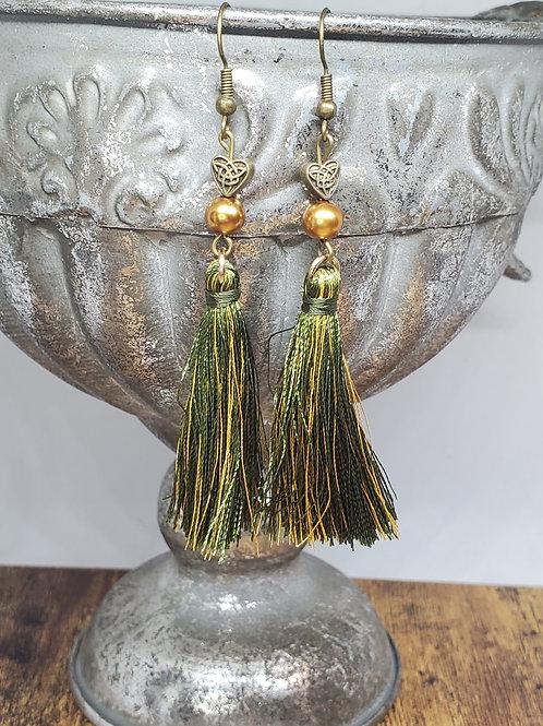 Olive Green & Gold Medium Tassels w/Beads