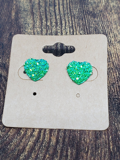 Iridescent Light Green Druzy Hearts Post