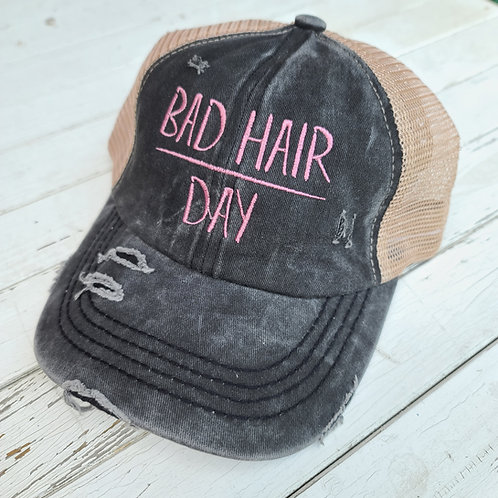 """Charcoal """"Bad Hair Day"""" Ponytail Hat"""