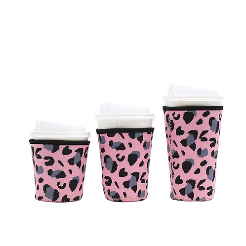 Insulated Drink Sleeve - Pink Leopard SMALL